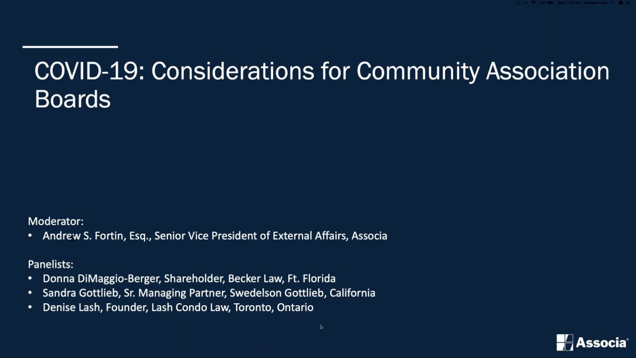 Text over saying:COVID-19 Considerations for Community Association Boards. over a dark blue background