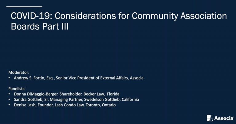 Text overlay saying, COVID-19: Considerations for Community Association Boards Part 3 over a Dark Blue background