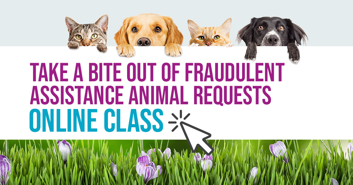 Banner for Online Class: Take a Bite Out of Fraudulent Assistance Animal Requests webinar