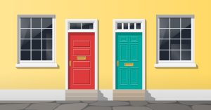 Exterior of a yellow building with a red door and a teal door.